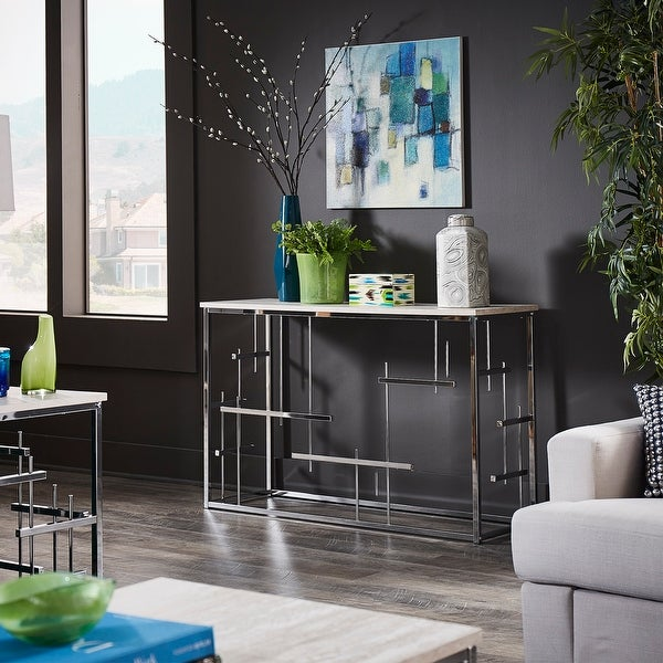 Rina Chrome Finish and White Faux Marble Top Sofa Table by iNSPIRE Q Bold. Opens flyout.