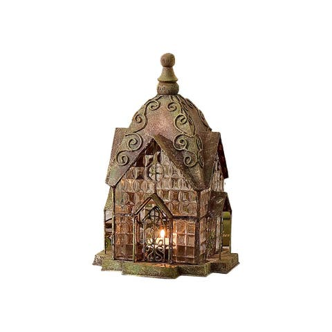 Glass and Metal Architectural Candle Lantern - Green Patina Windale House - 6.75 in. x 10.5 in.