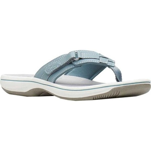 0698247e2 Shop Clarks Women s Breeze Sea Flip Flop Blue Grey Synthetic - On ...