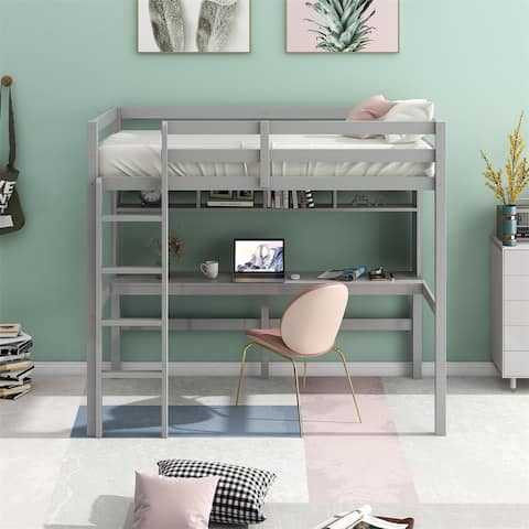 Merax Twin Size Loft Bed with Desk, Shelves, and Ladder