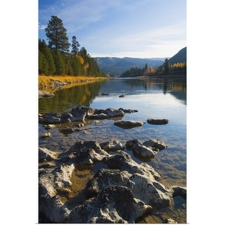 """""""Clouds and distant mountains reflected in rocky Kootenai River, Montana"""" Poster Print"""