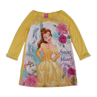 Disney Girls Yellow Beauty Beast Princess Belle Long Sleeve Nightgown