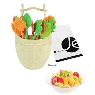 JAVOedge (Set of 16 pcs) Leaves Design Plastic Fruit Picks Forks or Dessert Forks Includes a Basket Picks Holder