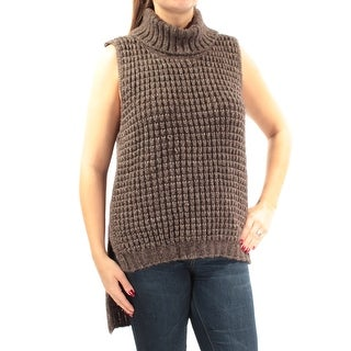 Womens Brown Sleeveless Turtle Neck Tube Sweater Size M