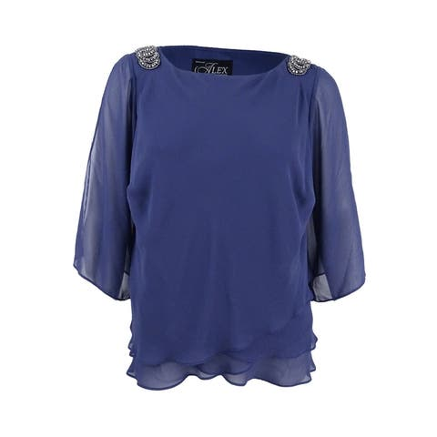 Alex Evenings Women's Plus Size Embellished Shoulder Tiered Blouse (1X, Heather) - Heather - 1X