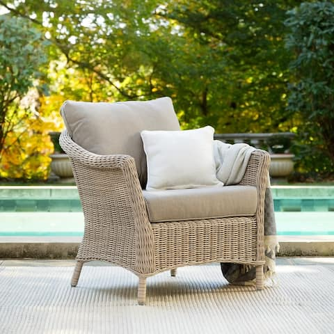 La-Z-Boy Laurel Weathered Brown Lounge Chair with Sunbrella Cast Shale Fabric