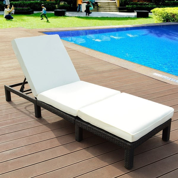 Shop Costway Patio Adjustable Wicker Chaise Lounge