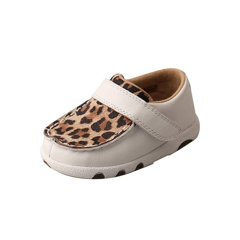 Twisted X Casual Shoes Girls Leather Driving Moc White Leopard - 8 infant