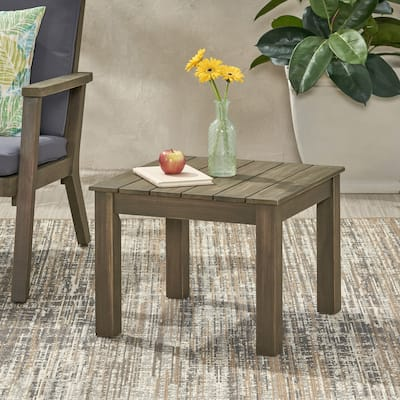 """Temecula Outdoor Mid-Century Modern End Table by Christopher Knight Home - 19.75"""" W x 19.75"""" D x 15.00"""" H"""