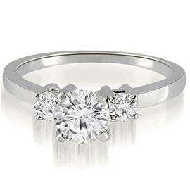 0.65 cttw. 14K White Gold Three-Stone Round Cut Diamond Engagement Ring