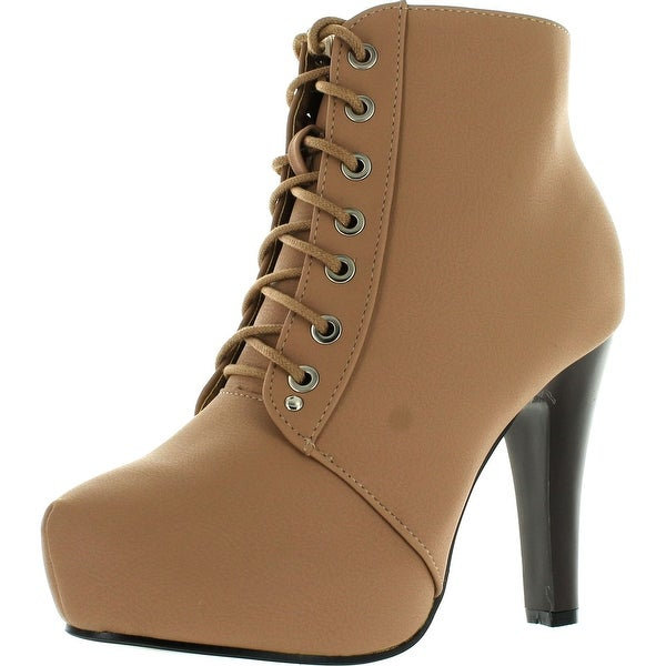 Top Moda Polish-6 Womens Lace-Up Hidden Platform Ankle Boots