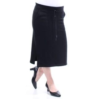 CHELSEA SKY Womens Black Tie Knee Length Pencil Wear To Work Skirt  Size: M