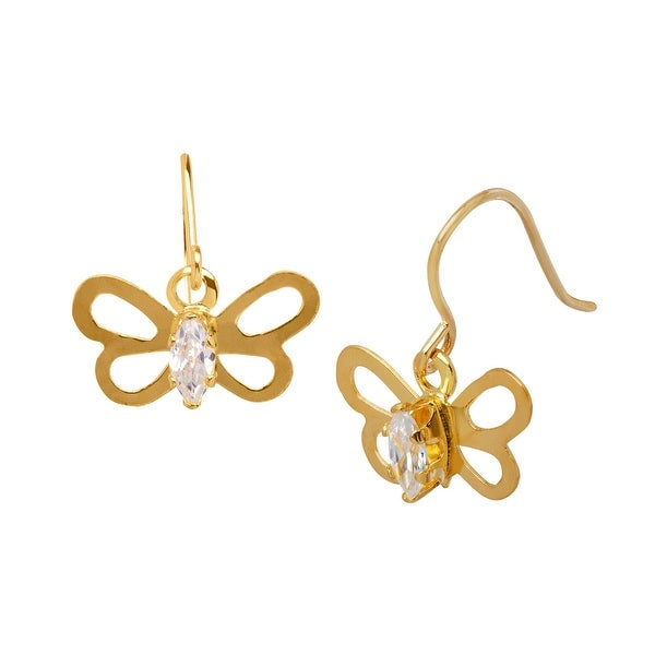 Butterfly Drop Earrings with Cubic Zirconia in 14K Gold
