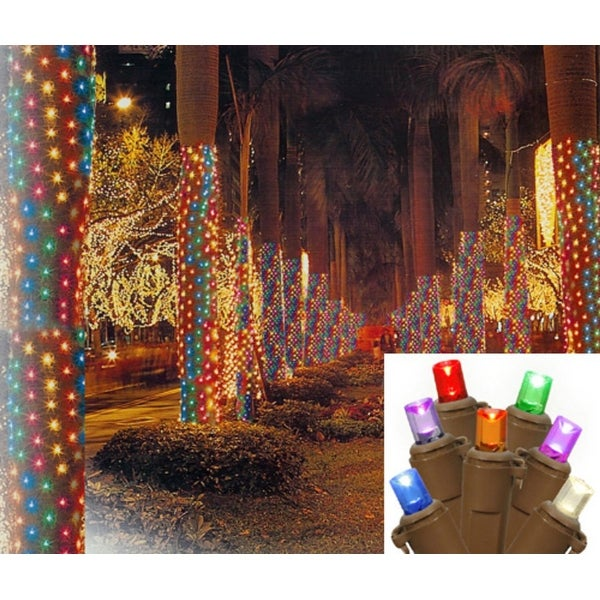 2' x 8' Multi-Color LED Net Style Tree Trunk Wrap Christmas Lights - Brown Wire