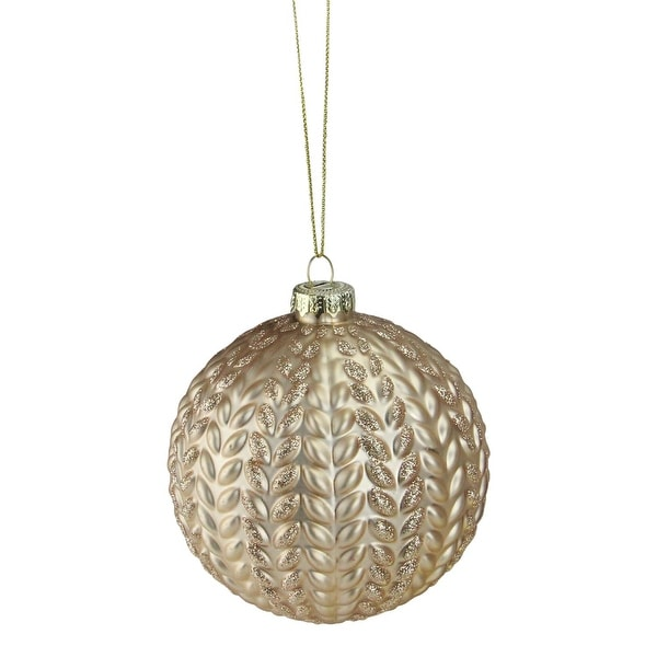 "Gold Wheat Design Glass Ball Christmas Ornament 4"" (100mm)"