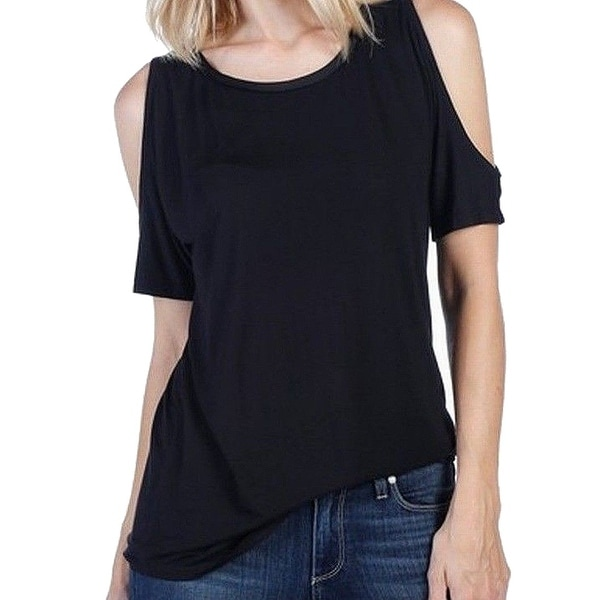 a1405d8cb2c68 Shop Paige Black Women s Size Medium M Cold Shoulder Jersey Knit Top - Free  Shipping Today - Overstock - 22128740