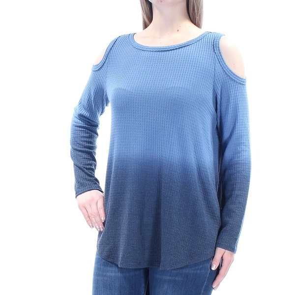 edb38137422ac Shop Womens Blue Ombre Long Sleeve Jewel Neck Casual Top Size M - Free  Shipping On Orders Over  45 - Overstock - 21388158
