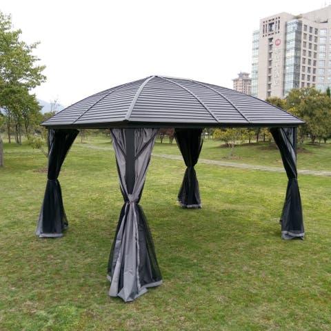 ALEKO Hardtop Round Roof Patio Gazebo with Mosquito Net - 12 x 10 Feet