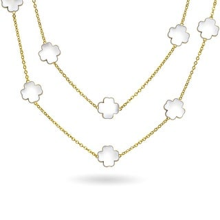Bling Jewelry Gold Plated White Enamel Four Leaf Clover Flower Necklace 42 Inches