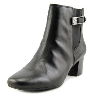 Bandolino Lethia Women Square Toe Leather Black Ankle Boot