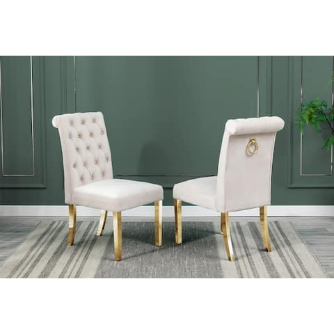 Best Quality Furniture Dining Chairs with Tufted, Hanging Ring, Gold Stainless Steel Legs (Set of 2)
