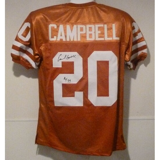 Earl Campbell Autographed Texas Longhorns size XL Jersey wHT 77