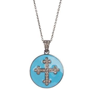 Turquoise Croos Diamond Pendant Necklace