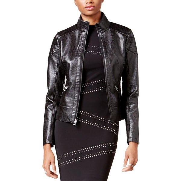 46539b17 Shop Guess Womens Motorcycle Jacket Faux Leather Textured - Free ...