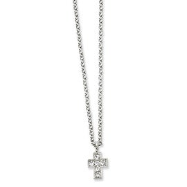 Silvertone Cross w/Clear Crystals Necklace - 16in