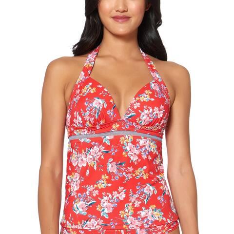 Jessica Simpson Womens Halter Floral Tankini Swim Top - Pepper Multi - S