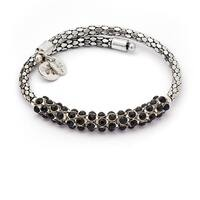 Bohemia Spontaneity Black Crystal Wrap Bangle For Women, Silver Rhodium Plated