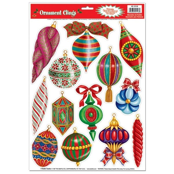 "Club Pack of 156 Christmas Ornament Window Clings Holiday Decorations 17"" - multi"
