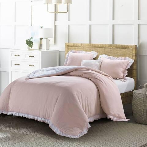 Wholelinens Linen Duvet Cover Set- Revisable, Ruffle Style