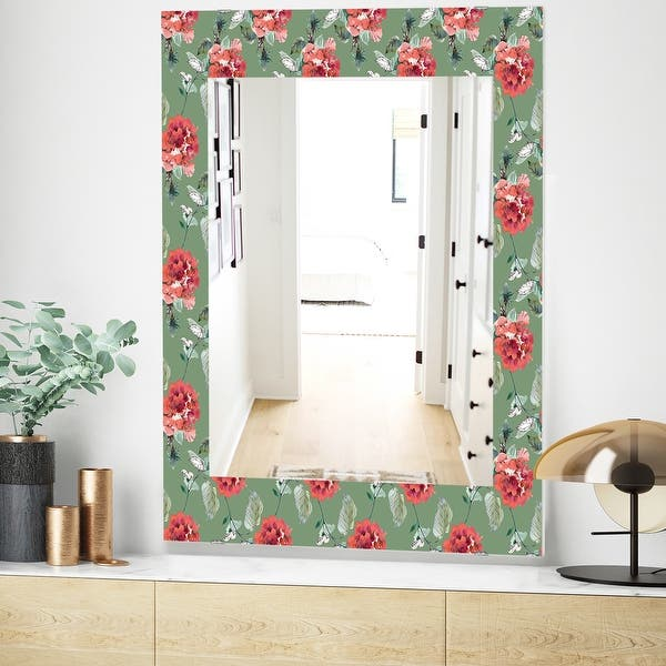 Designart Green Flowers 1 Traditional Mirror Frameless Wall Mirror On Sale Overstock 28022070