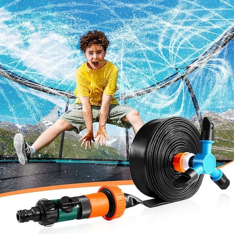 Trampoline Sprinkler for Kids39ft Thick Hose Outdoor Play Sprinkler with 360°Auto Rotating Sprinkler, Fun WaterPark - 39ft