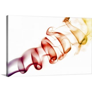 """""""Red/ Orange Coloured Smoke Curls Isolated on White"""" Canvas Wall Art"""