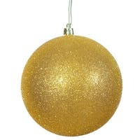 Vickerman  8 in. Gold Glitter Drilled Cap Christmas Ornament Ball