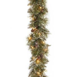 "6' x 10"" Pre-Lit Bristle Pine Artificial Christmas Garland - White Lights"
