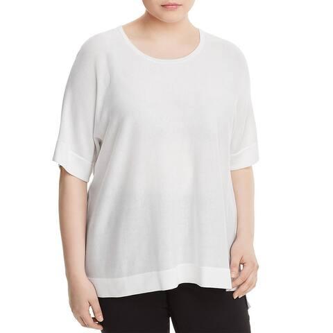 Eileen Fisher Women's Silk Blend Step Hem Pullover Sweater, White, 2X