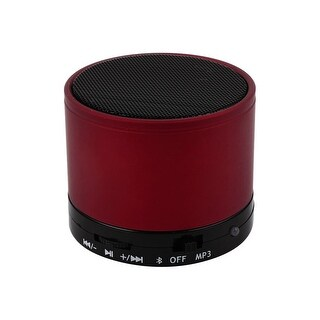 Unique Bargains Metal Wireless bluetooth 3.0 TF Slot MP3 Handfree Mic Mini Speaker Bass Red