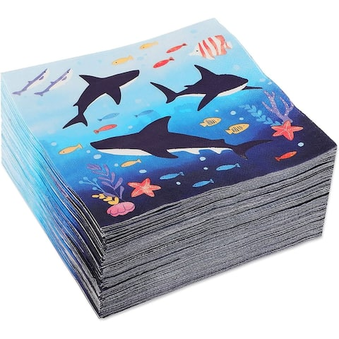 Shark Party Supplies, Luncheon Napkins (6.5 In, 100-Pack)