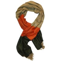 Nicoshine Adult Unisex Cashmere Scarf Colorblock Orange/Green/Tan One Size - One Size