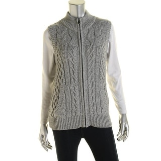 Jones New York Womens Cable Knit Marled Sweater Vest - M
