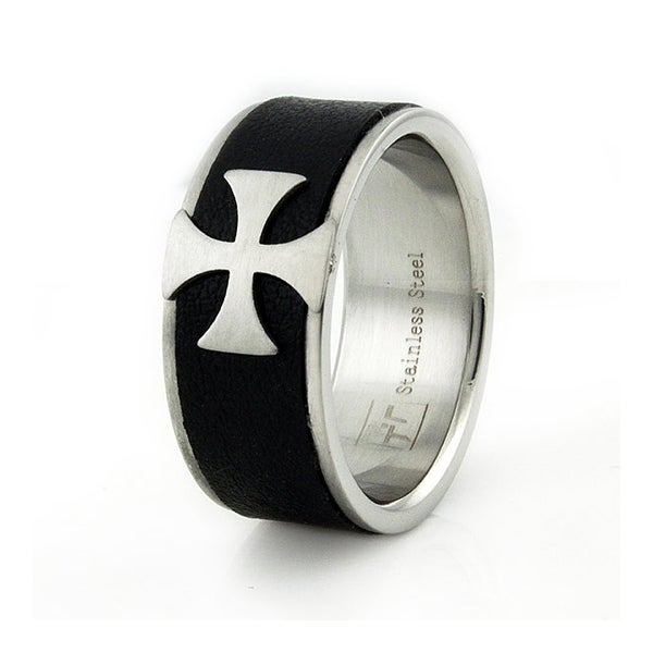 Stainless Steel Men's Cross Ring w/ Leather Inlay