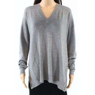 Fench Connection NEW Gray Heathered Womens Size Large L V-Neck Sweater