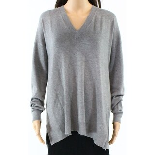 French Connection NEW Gray Womens Size Large L Deep V-Neck Sweater