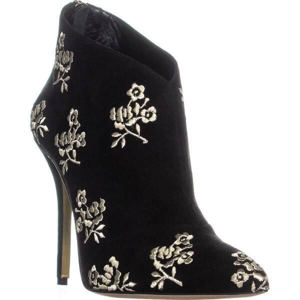 ae62eafdd976 Shop Oscar de la Renta P1717122 Pointed Toe Ankle Boots, Black/Gold ...
