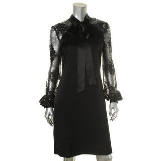 Kay Unger Womens Shirtdress Lace Sleeves Mock Neck