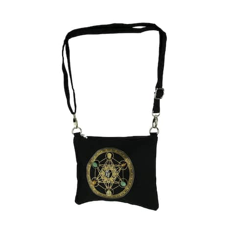 Black Canvas Sacred Geometry Cube for Wealth Gemstone Crystal Grid Crossbody Bag