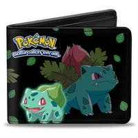 Bulbasaur Evolution Poses Pokmon Logo Black Green Leaves Bi Fold Wallet - One Size Fits most